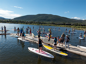 Stand up paddle board portion of the Frisco Triathlon