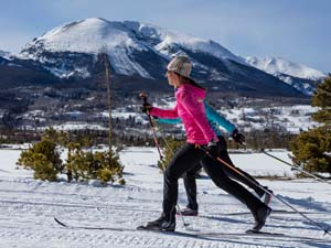 Two classic skiers at the Frisco Nordic Center