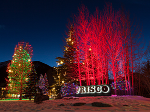 Holiday lights in Triangle Park in Frisco