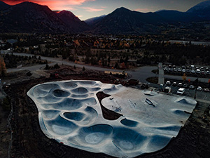 Aerial of new Frisco Skate Park at sunset fall 2018