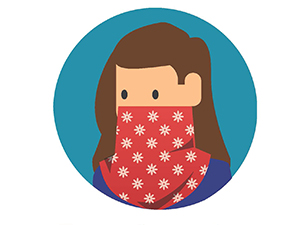 Illustration of a woman with a face covering